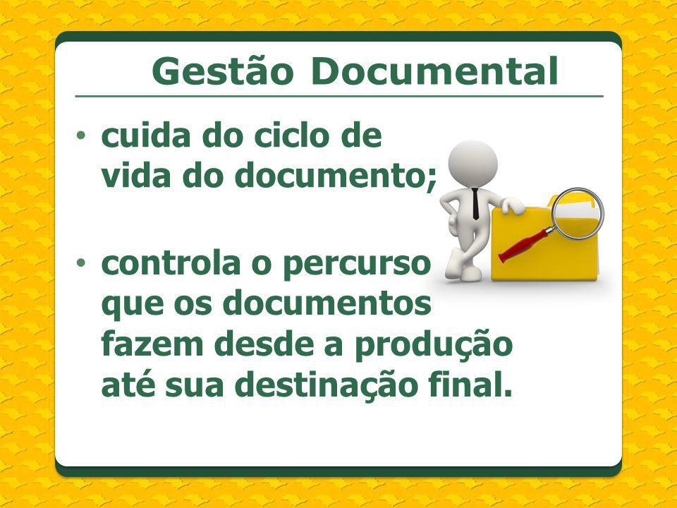 Gestão Documental cuida do ciclo de vida do documento;