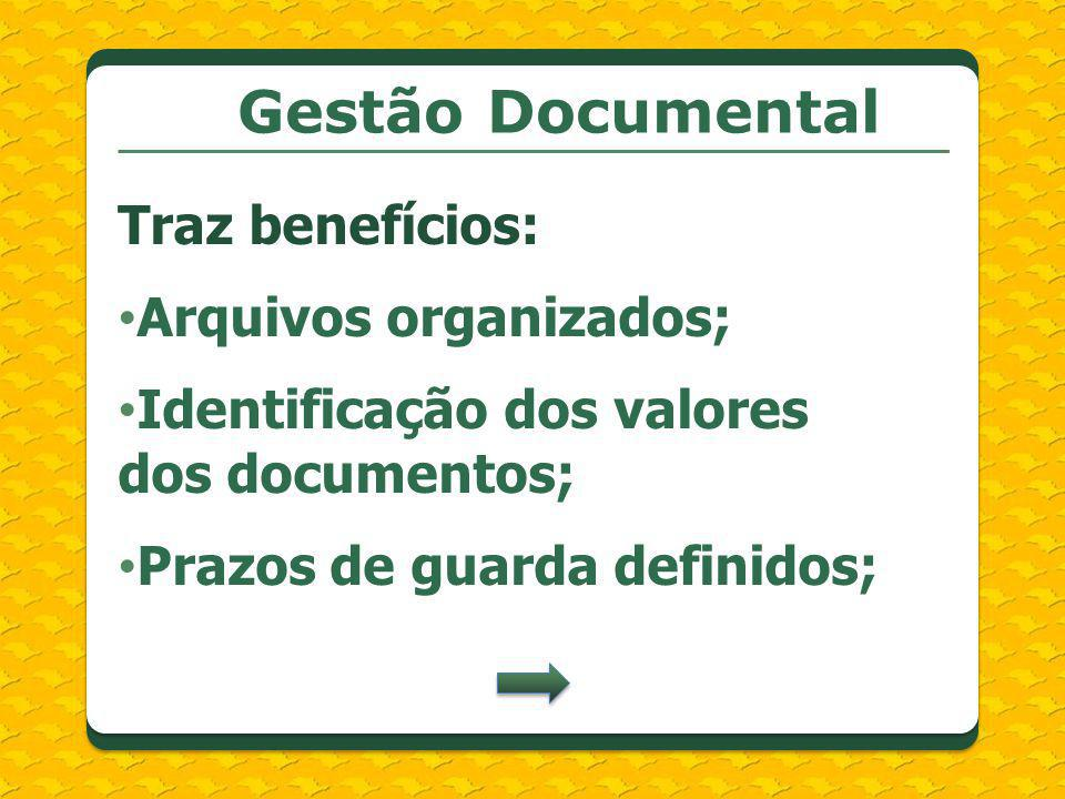 Gestão Documental Traz benefícios: Arquivos organizados;