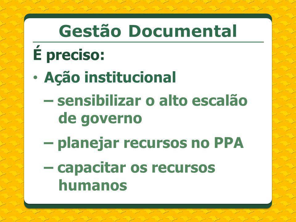 Gestão Documental É preciso: Ação institucional