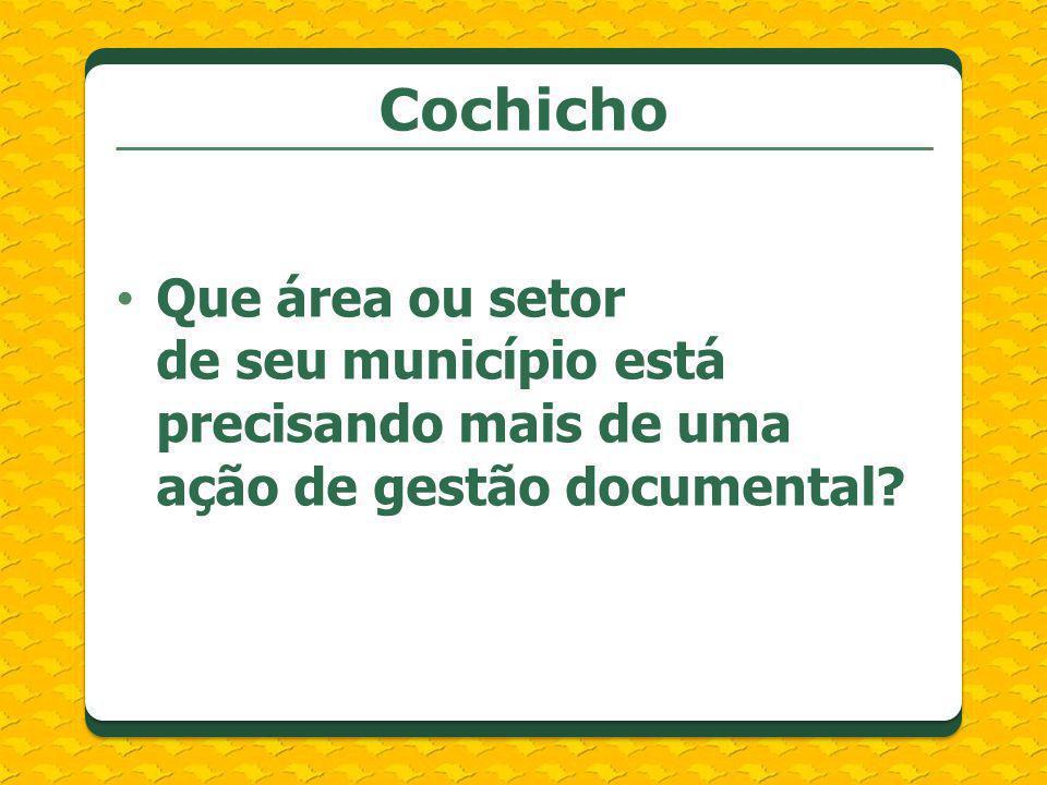 Cochicho Que área ou setor de seu município está precisando mais de uma ação de gestão documental