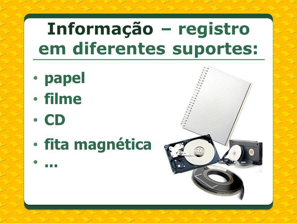 Informação – registro em diferentes suportes: