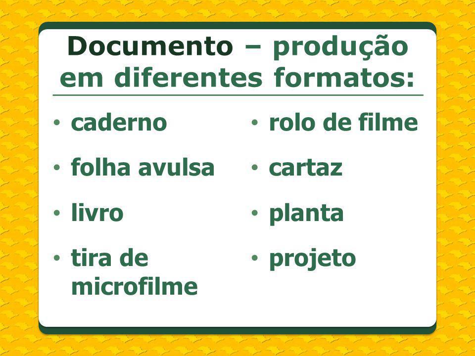 Documento – produção em diferentes formatos: