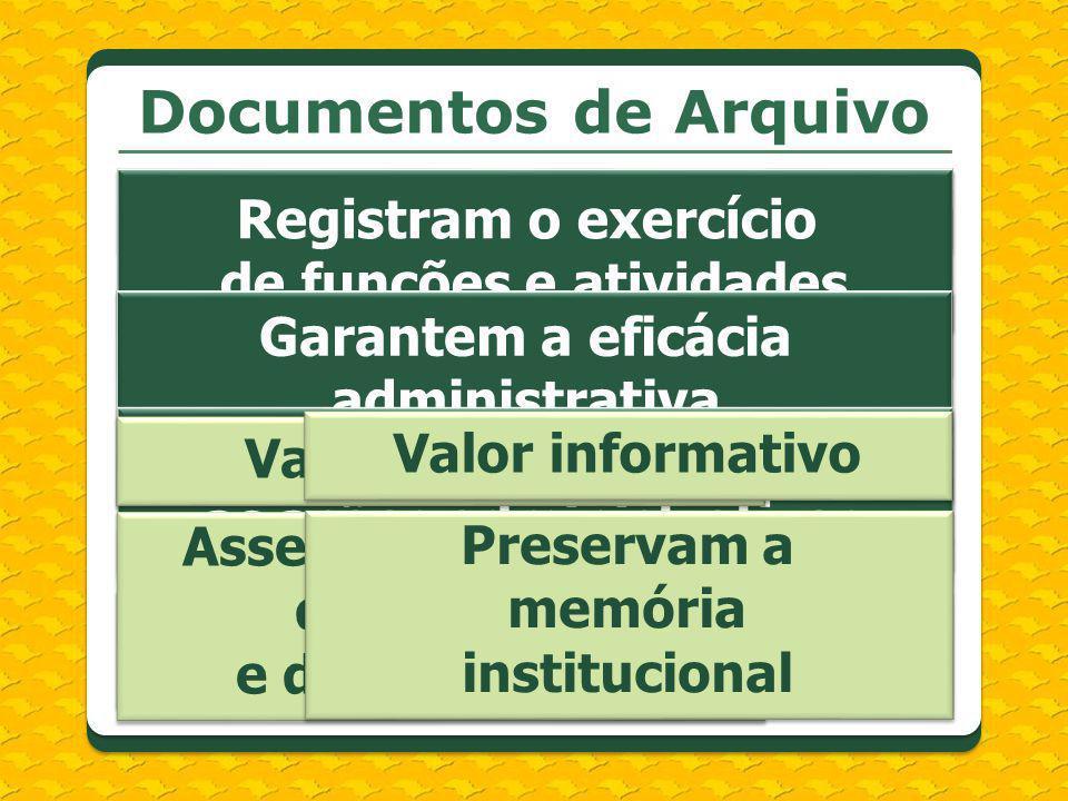 Documentos de Arquivo Registram o exercício de funções e atividades