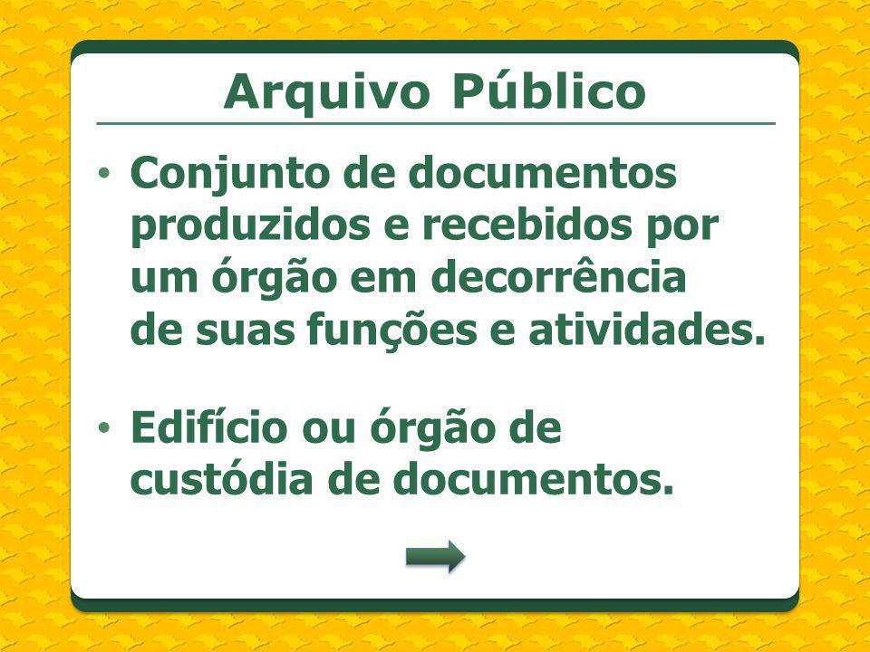 Arquivo Público Conjunto de documentos produzidos e recebidos por um órgão em decorrência de suas funções e atividades.