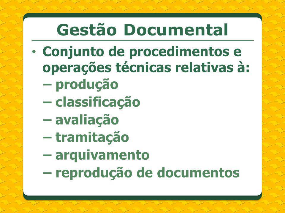 Gestão Documental Conjunto de procedimentos e operações técnicas relativas à: – produção. – classificação.