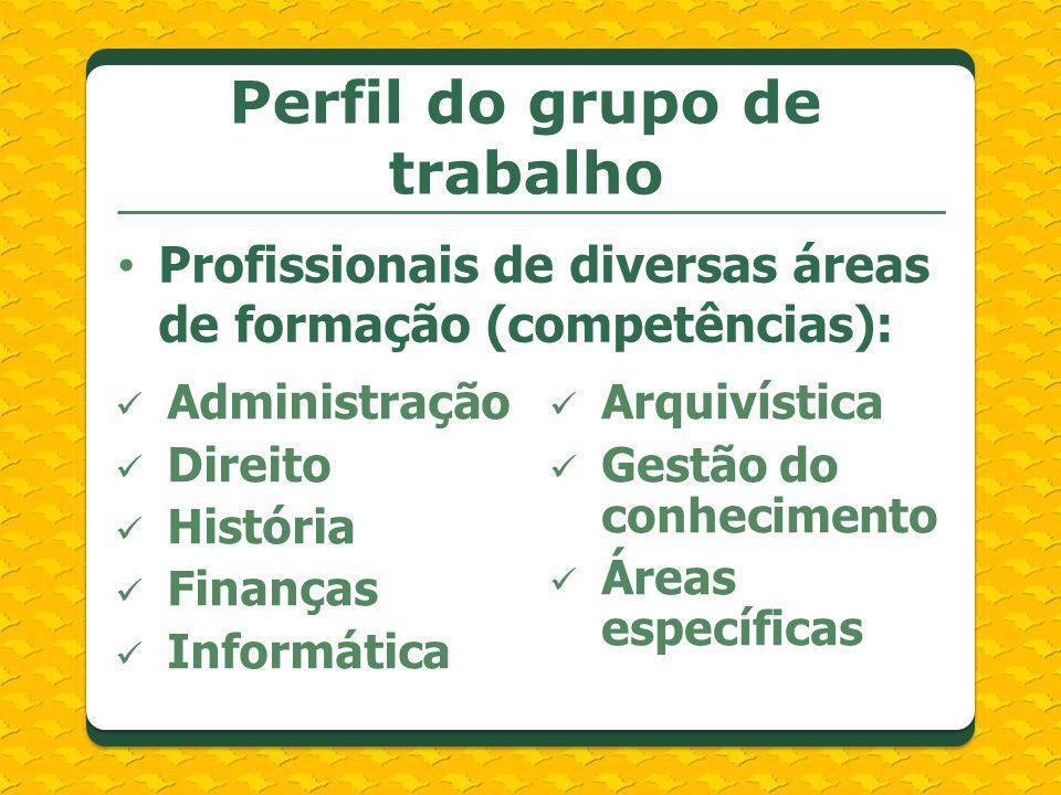 Perfil do grupo de trabalho