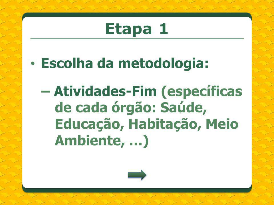 Etapa 1 Escolha da metodologia:
