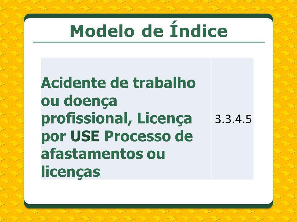 Modelo de Índice Acidente de trabalho ou doença profissional, Licença por USE Processo de afastamentos ou licenças.