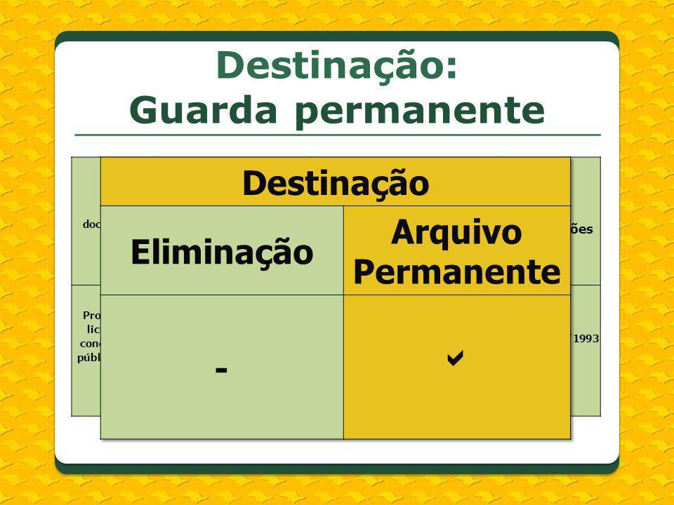 Destinação: Guarda permanente