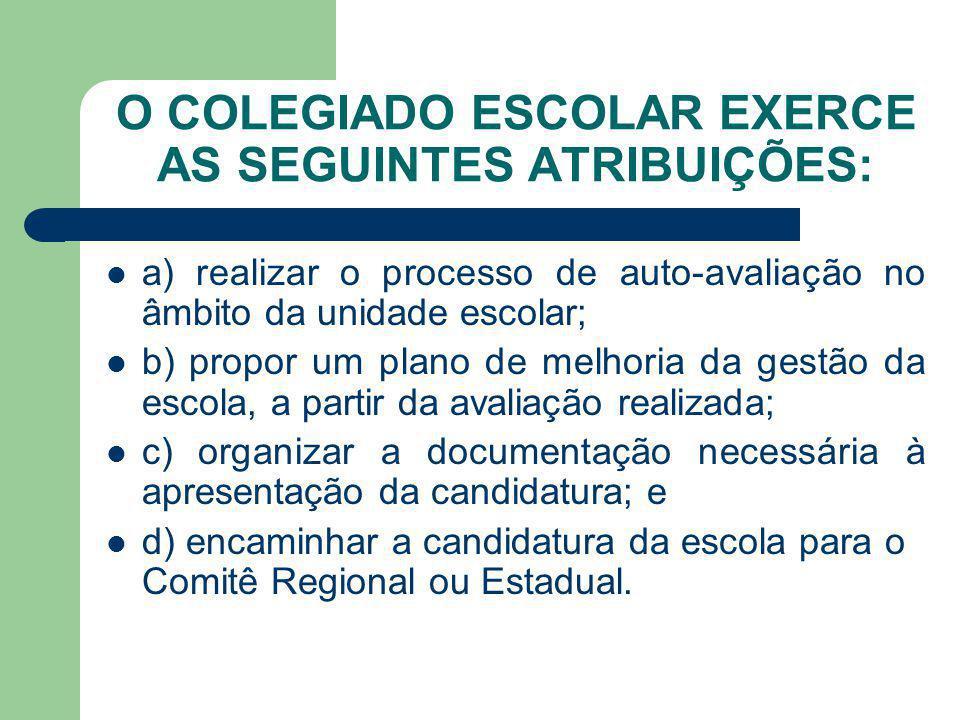 O COLEGIADO ESCOLAR EXERCE AS SEGUINTES ATRIBUIÇÕES:
