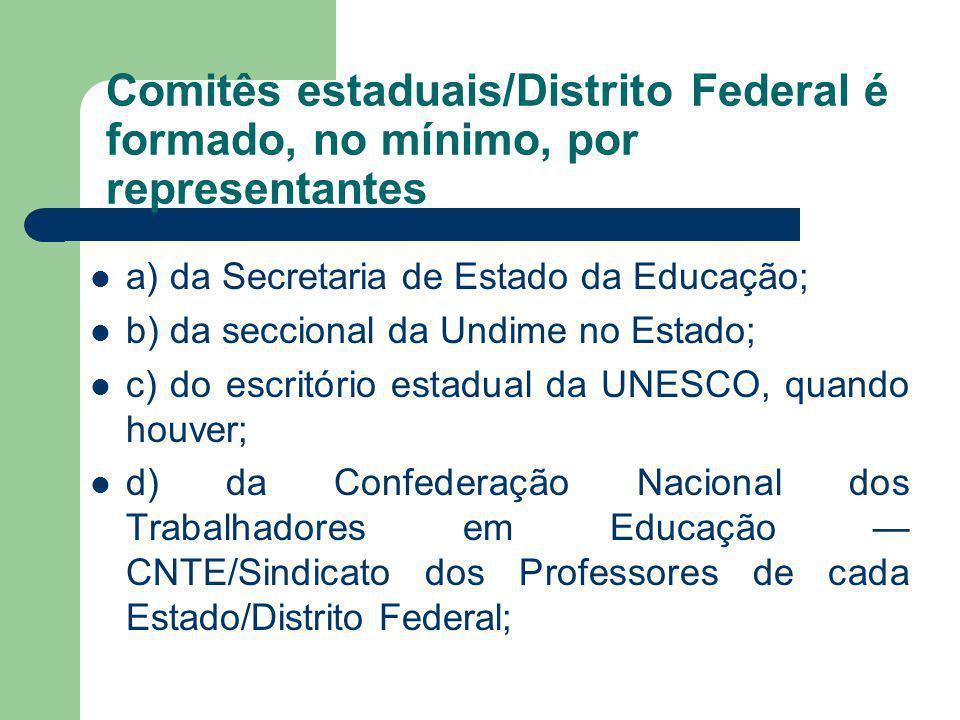 Comitês estaduais/Distrito Federal é formado, no mínimo, por representantes