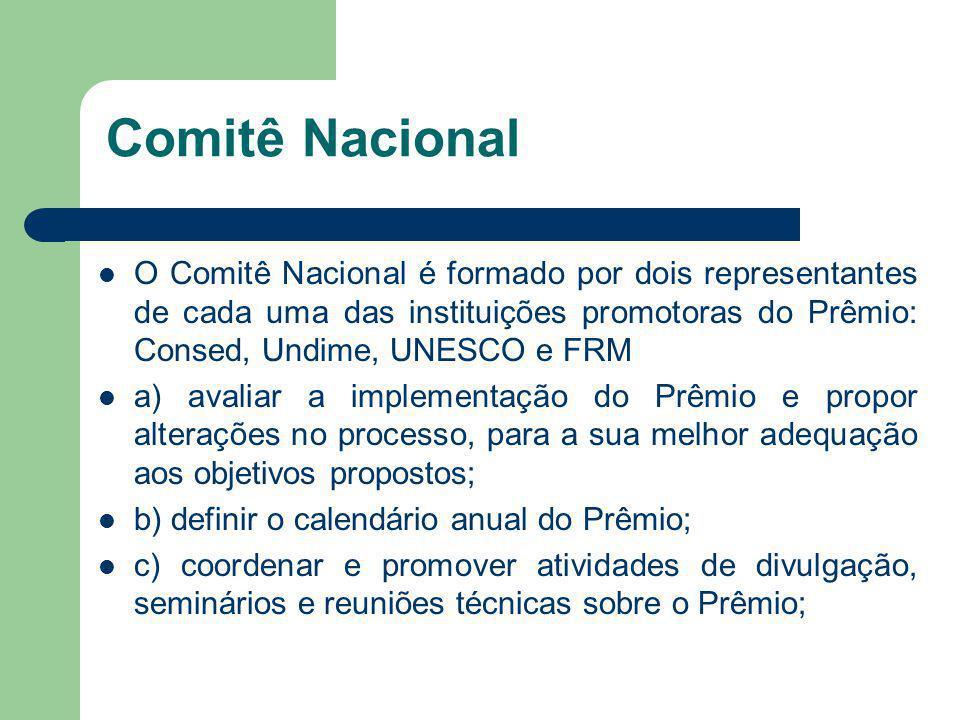 Comitê Nacional O Comitê Nacional é formado por dois representantes de cada uma das instituições promotoras do Prêmio: Consed, Undime, UNESCO e FRM.