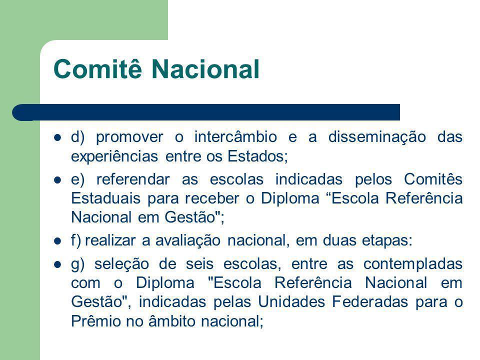 Comitê Nacional d) promover o intercâmbio e a disseminação das experiências entre os Estados;