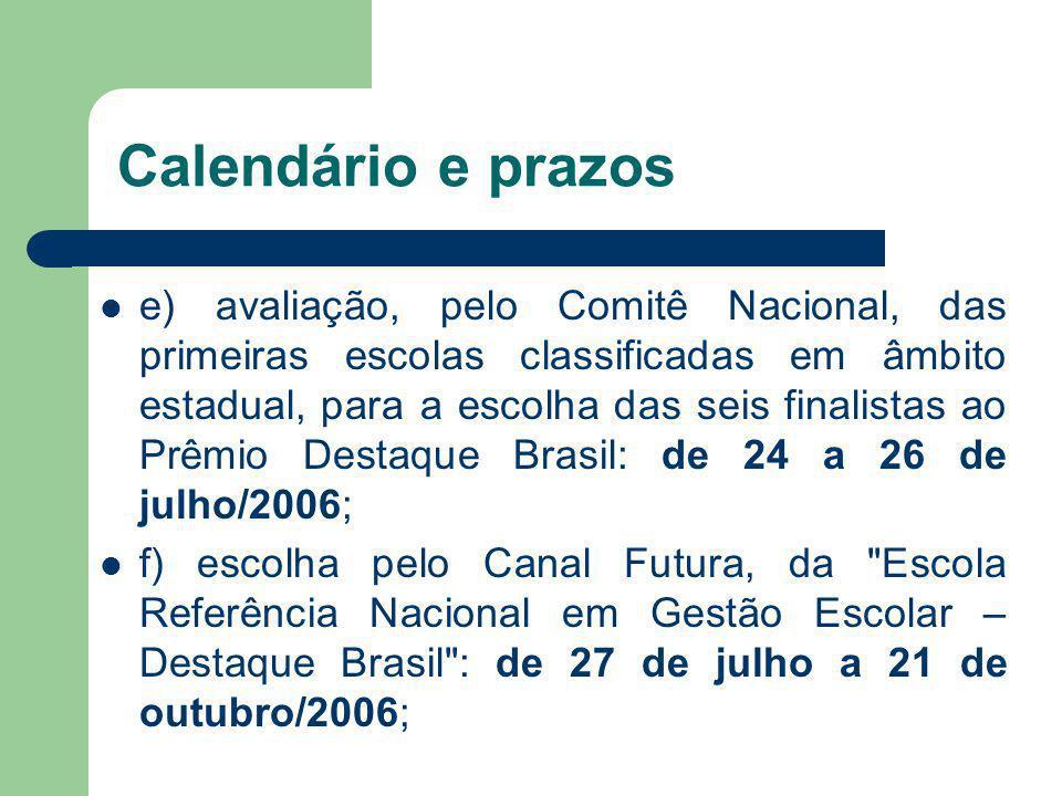 Calendário e prazos