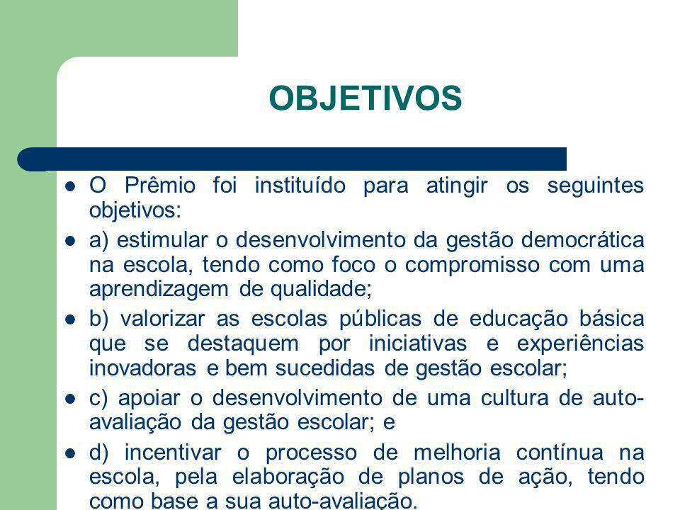 OBJETIVOS O Prêmio foi instituído para atingir os seguintes objetivos: