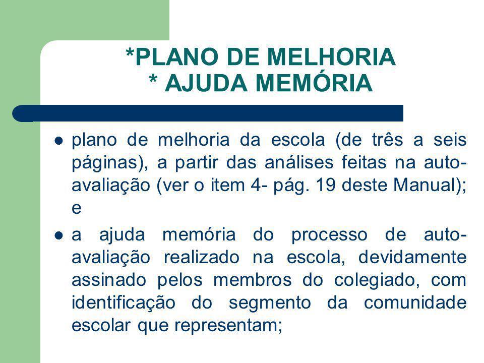 *PLANO DE MELHORIA * AJUDA MEMÓRIA