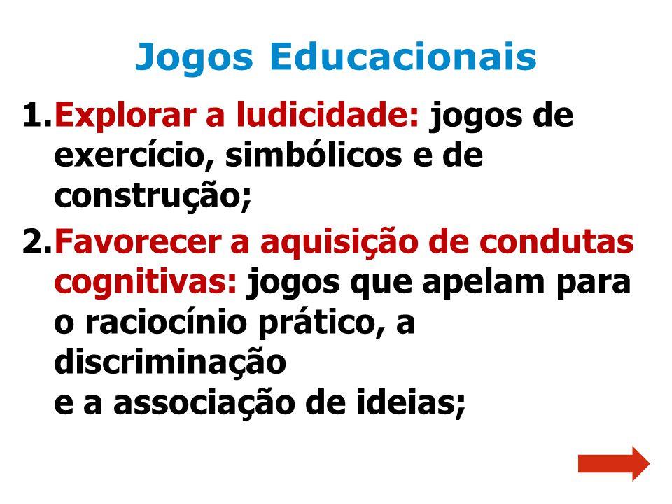 Jogos Educacionais Explorar a ludicidade: jogos de exercício, simbólicos e de construção;