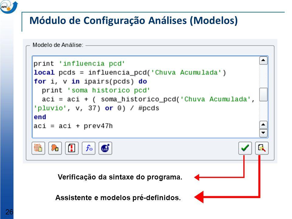 Módulo de Configuração Análises (Modelos)