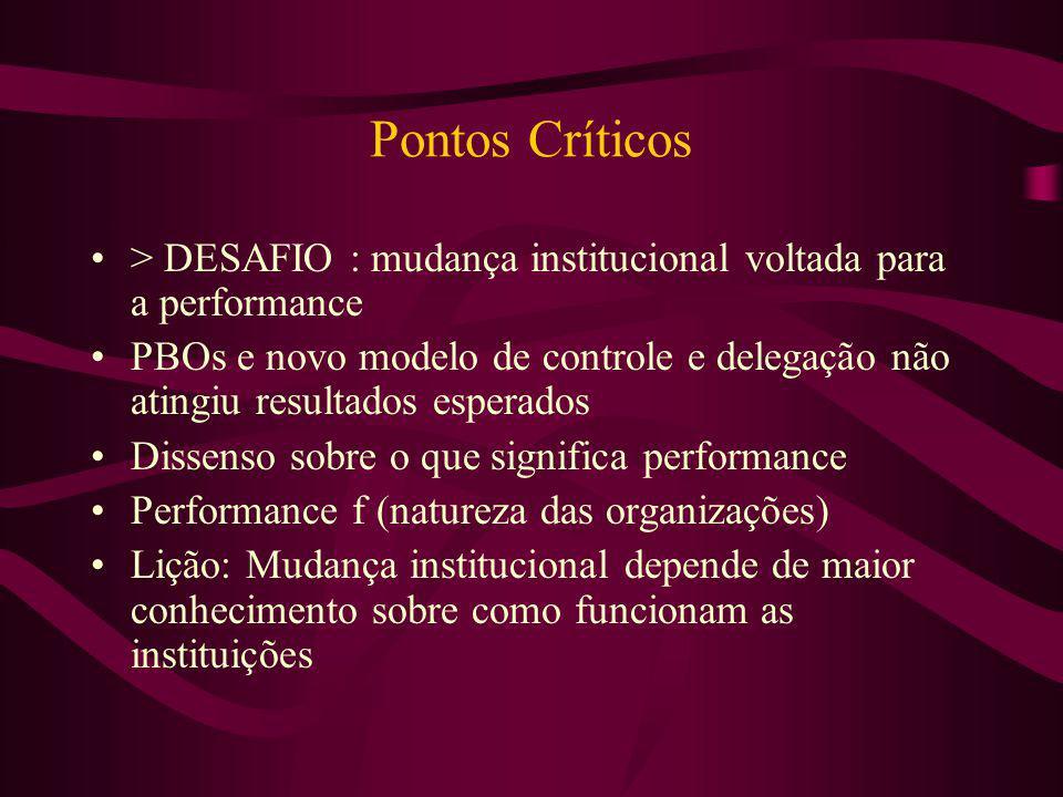 Pontos Críticos > DESAFIO : mudança institucional voltada para a performance.