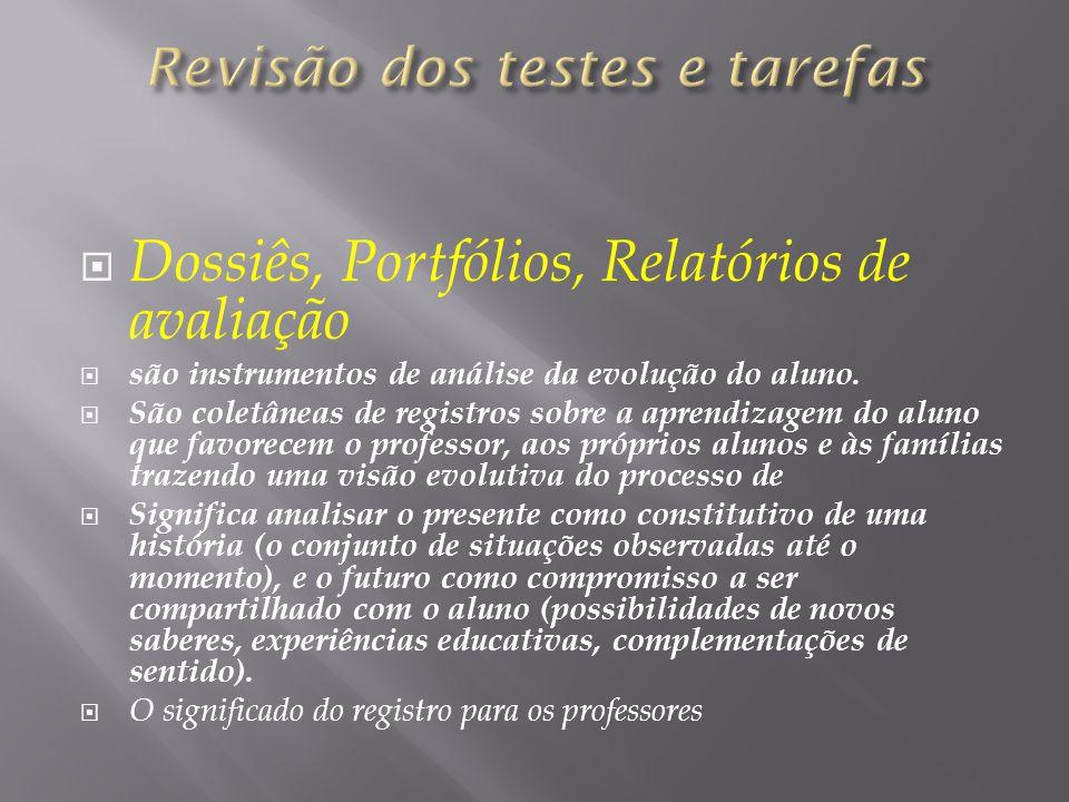Revisão dos testes e tarefas