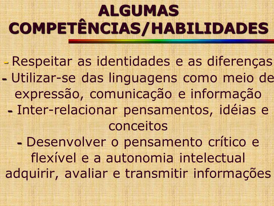 ALGUMAS COMPETÊNCIAS/HABILIDADES - Respeitar as identidades e as diferenças - Utilizar-se das linguagens como meio de expressão, comunicação e informação - Inter-relacionar pensamentos, idéias e conceitos - Desenvolver o pensamento crítico e flexível e a autonomia intelectual adquirir, avaliar e transmitir informações