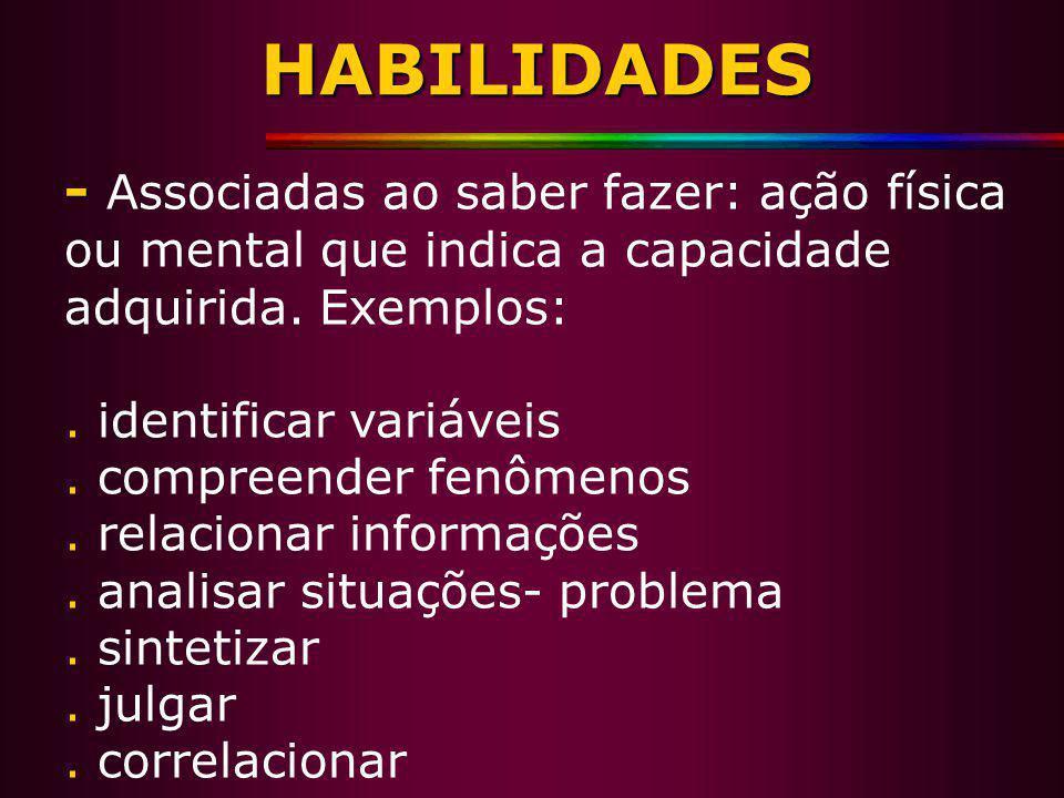 HABILIDADES - Associadas ao saber fazer: ação física ou mental que indica a capacidade adquirida. Exemplos: