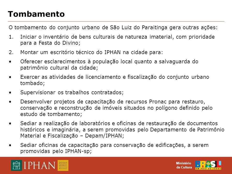 Tombamento O tombamento do conjunto urbano de São Luiz do Paraitinga gera outras ações:
