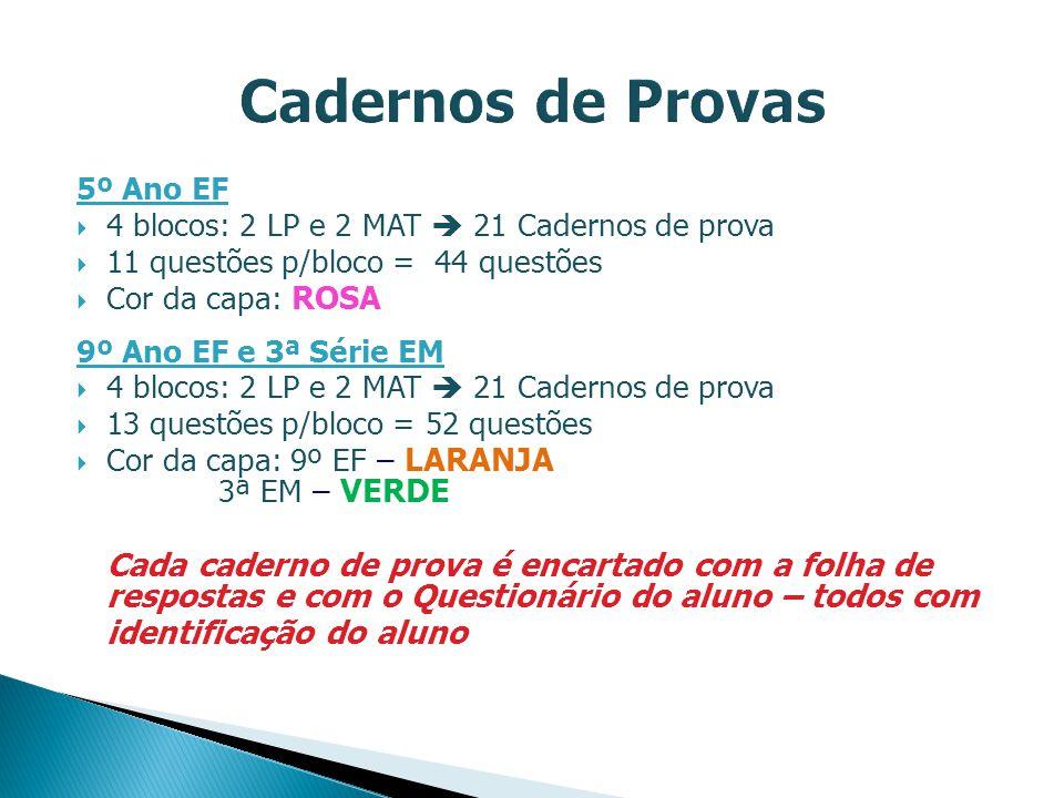Cadernos de Provas 5º Ano EF. 4 blocos: 2 LP e 2 MAT  21 Cadernos de prova. 11 questões p/bloco = 44 questões.