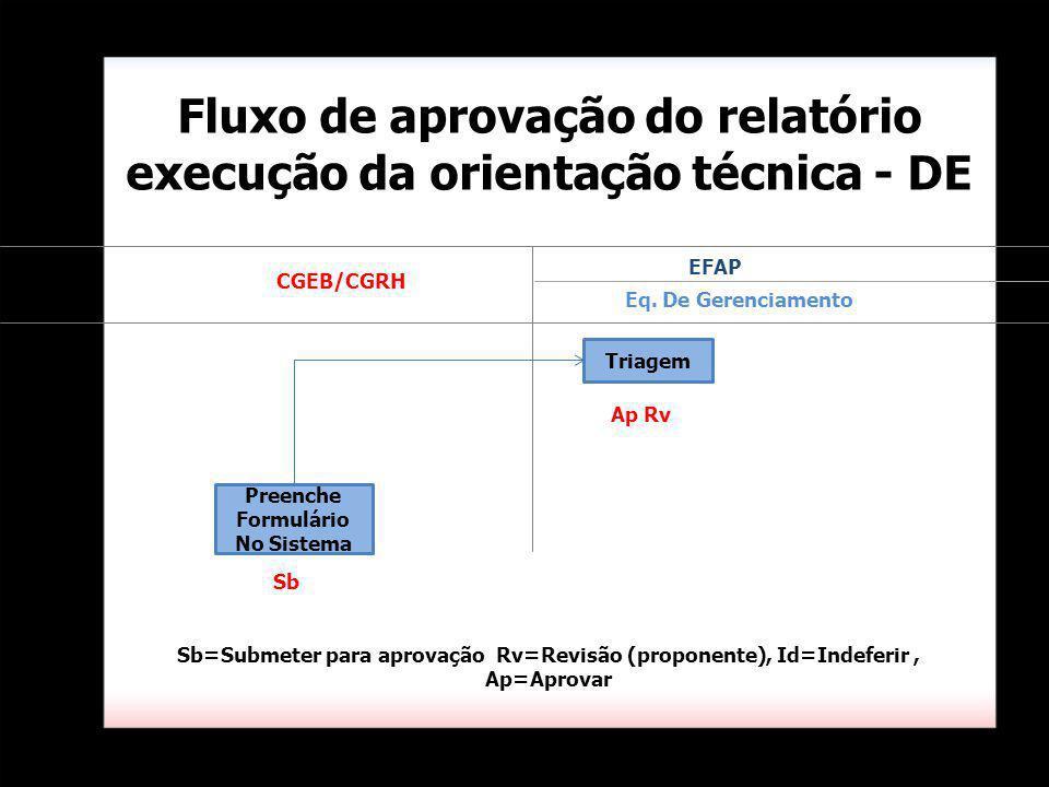 Fluxo de aprovação do relatório execução da orientação técnica - DE