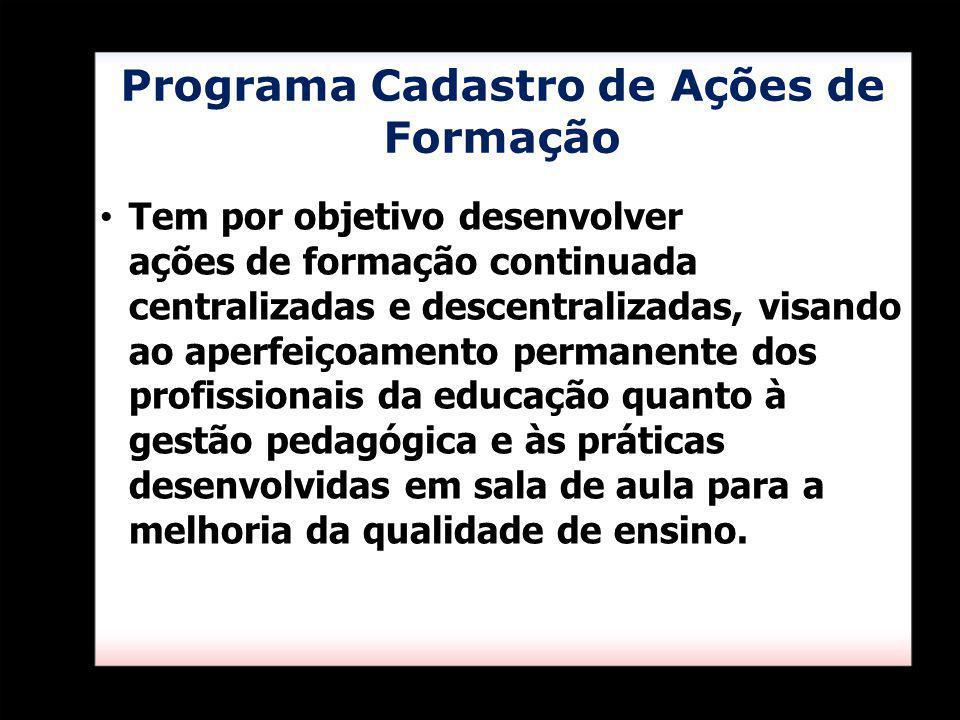 Programa Cadastro de Ações de Formação