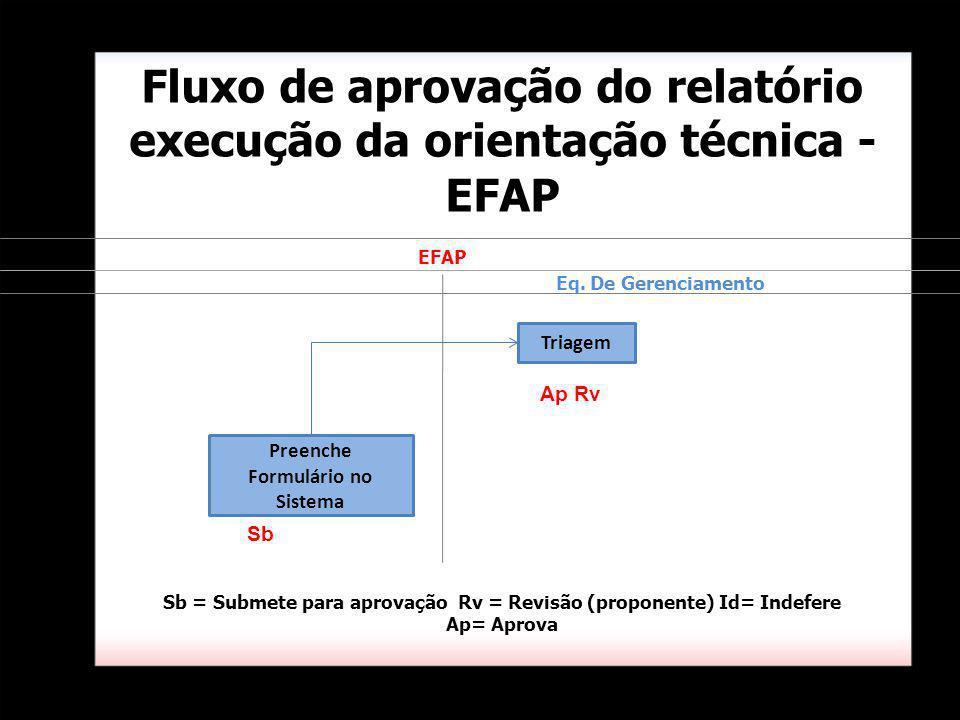 Fluxo de aprovação do relatório execução da orientação técnica - EFAP