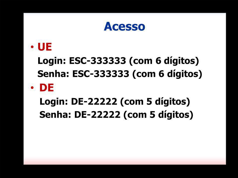 Acesso UE DE Login: ESC-333333 (com 6 dígitos)