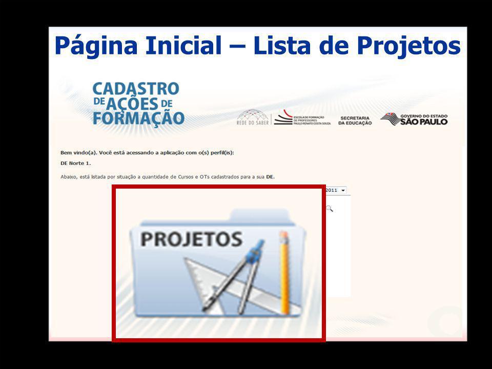 Página Inicial – Lista de Projetos
