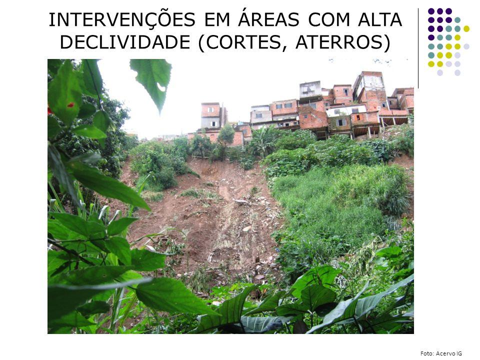 INTERVENÇÕES EM ÁREAS COM ALTA DECLIVIDADE (CORTES, ATERROS)