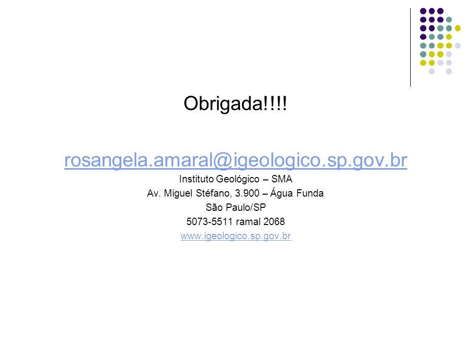 Obrigada!!!! rosangela.amaral@igeologico.sp.gov.br