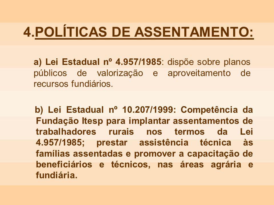 4.POLÍTICAS DE ASSENTAMENTO: