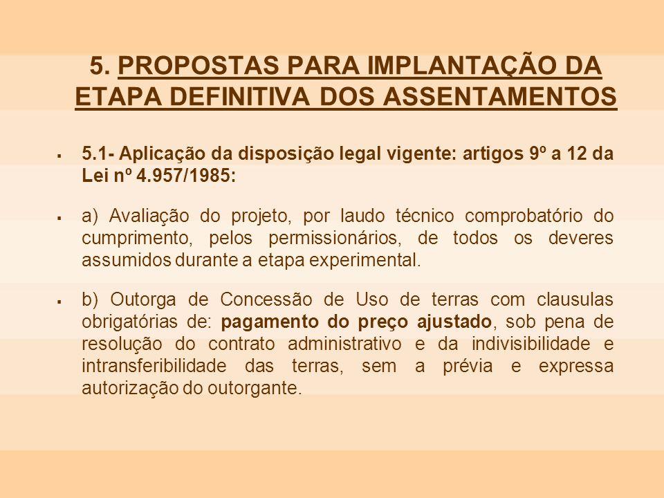5. PROPOSTAS PARA IMPLANTAÇÃO DA ETAPA DEFINITIVA DOS ASSENTAMENTOS