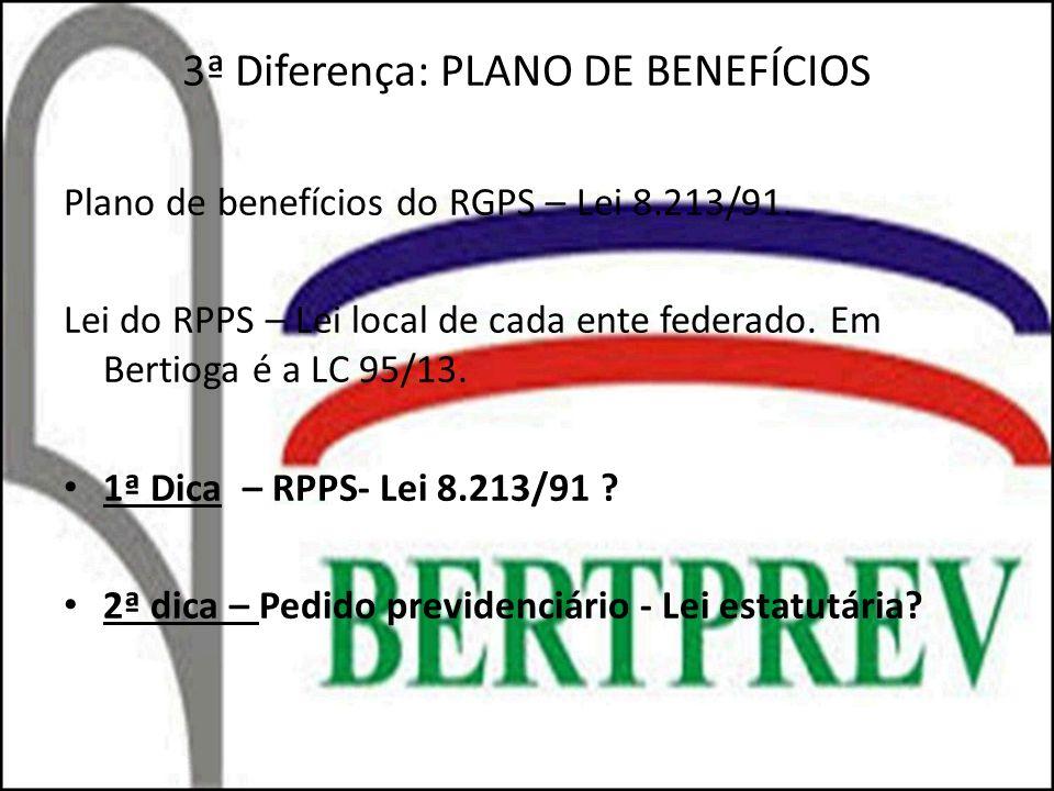 3ª Diferença: PLANO DE BENEFÍCIOS