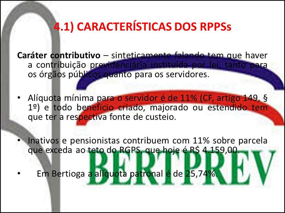 4.1) CARACTERÍSTICAS DOS RPPSs