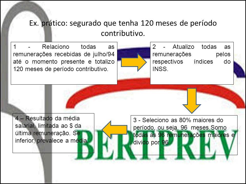 Ex. prático: segurado que tenha 120 meses de período contributivo.