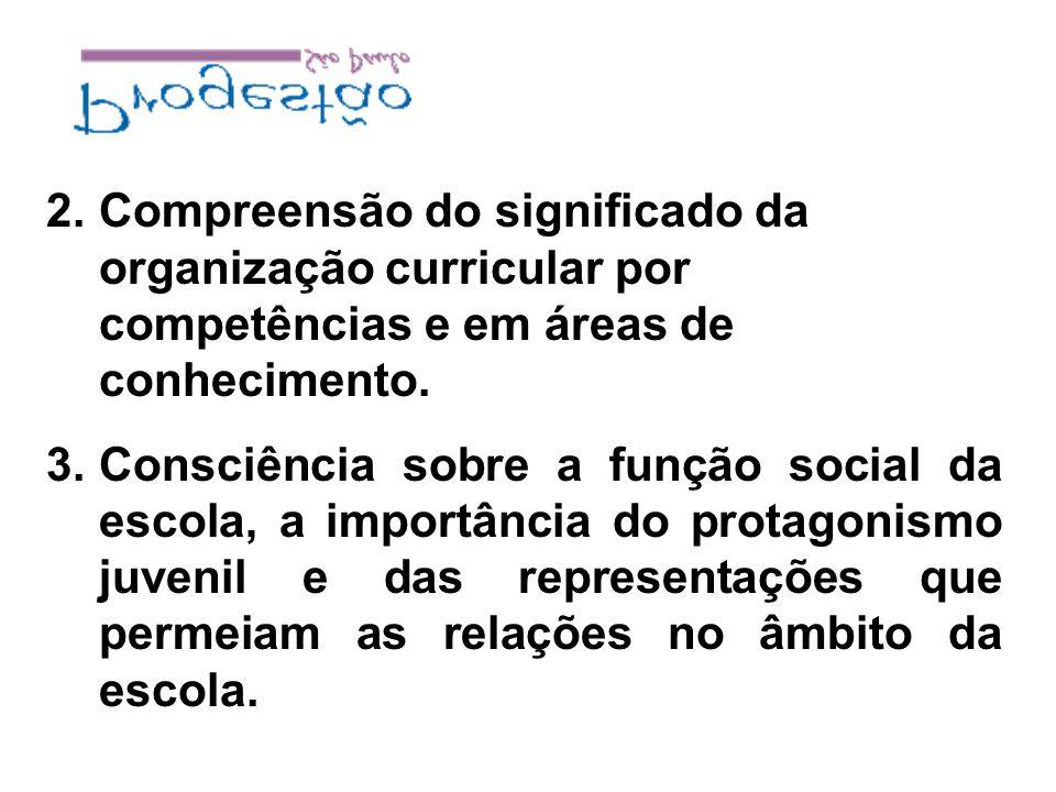 Compreensão do significado da organização curricular por competências e em áreas de conhecimento.