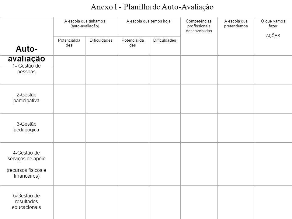 Anexo I - Planilha de Auto-Avaliação