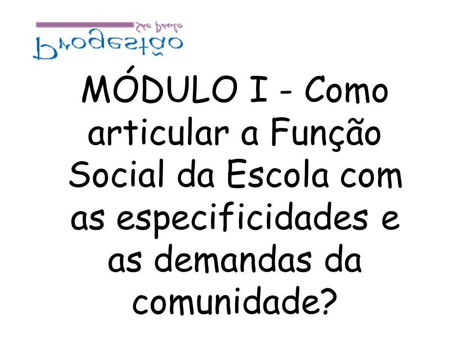 MÓDULO I - Como articular a Função Social da Escola com as especificidades e as demandas da comunidade