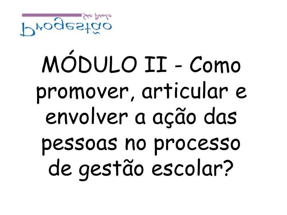 MÓDULO II - Como promover, articular e envolver a ação das pessoas no processo de gestão escolar