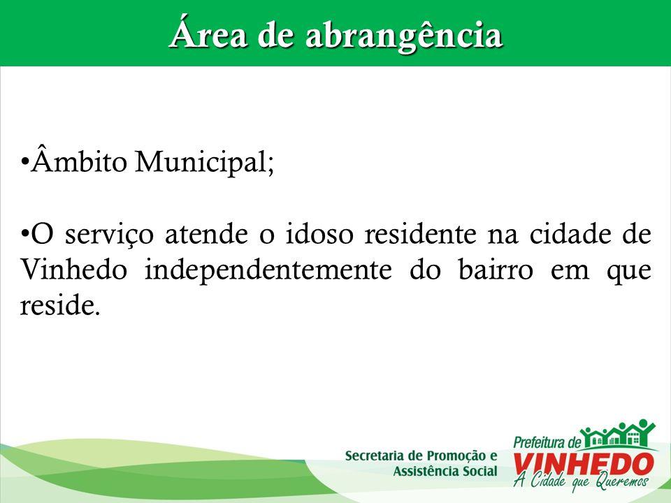 Área de abrangência Âmbito Municipal;