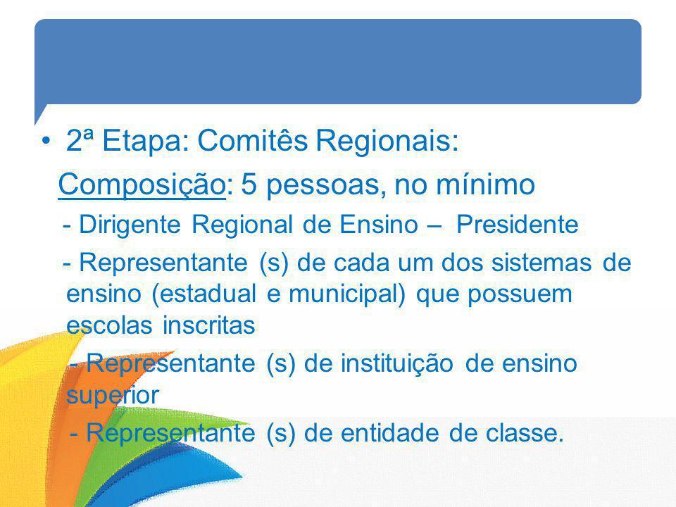 2ª Etapa: Comitês Regionais: Composição: 5 pessoas, no mínimo
