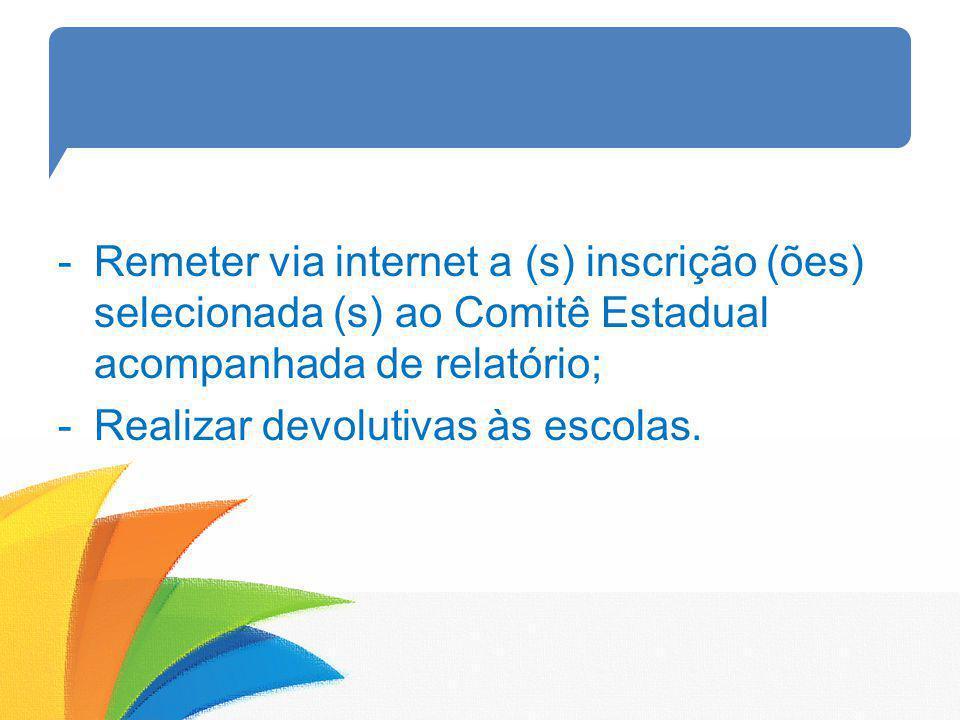 Remeter via internet a (s) inscrição (ões) selecionada (s) ao Comitê Estadual acompanhada de relatório;