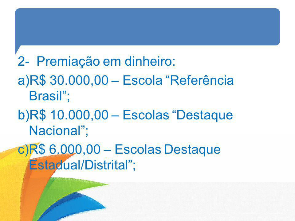 2- Premiação em dinheiro: