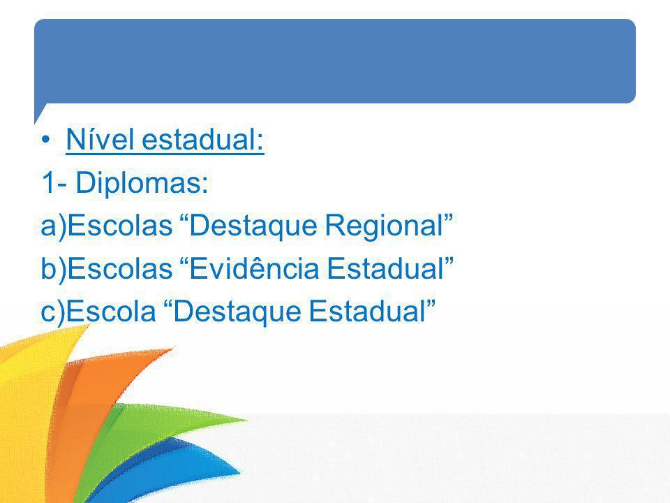 Nível estadual: 1- Diplomas: Escolas Destaque Regional Escolas Evidência Estadual Escola Destaque Estadual