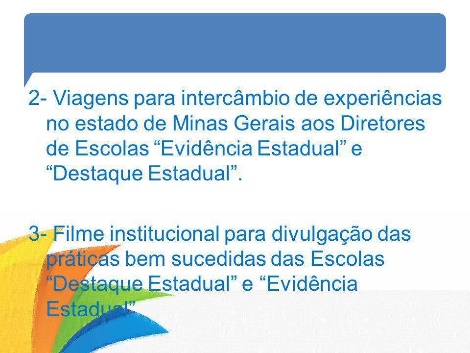 2- Viagens para intercâmbio de experiências no estado de Minas Gerais aos Diretores de Escolas Evidência Estadual e Destaque Estadual .